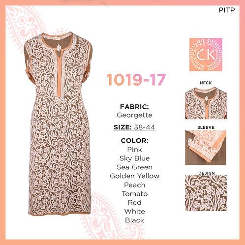 Kashmiri White Thread Chikan Kari Georgette Design Kurti 1019-17