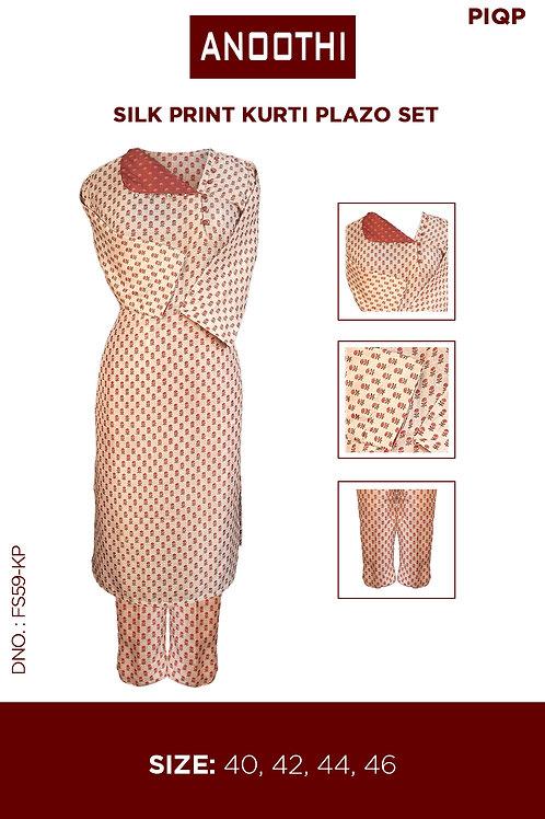 Silk Print Kurti Plazo Set FS59-KP