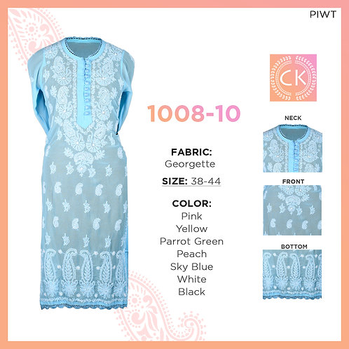 Noori 10 button White thread work Georgette 1008-10