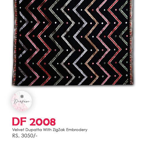 Velvet dupatta With ZIG ZACK Embroidery