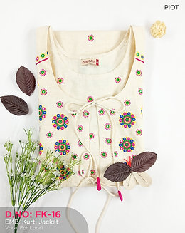 Embroidery Kurti with attached Jacket