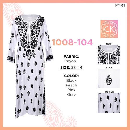 Noori Rayon Kashmiri  (white kurti with colored thread) Rayon 1008-104