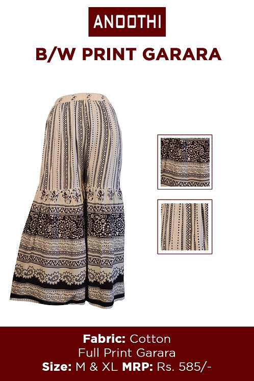 B/W Print Garara Cottong Fabric Full Print Garara