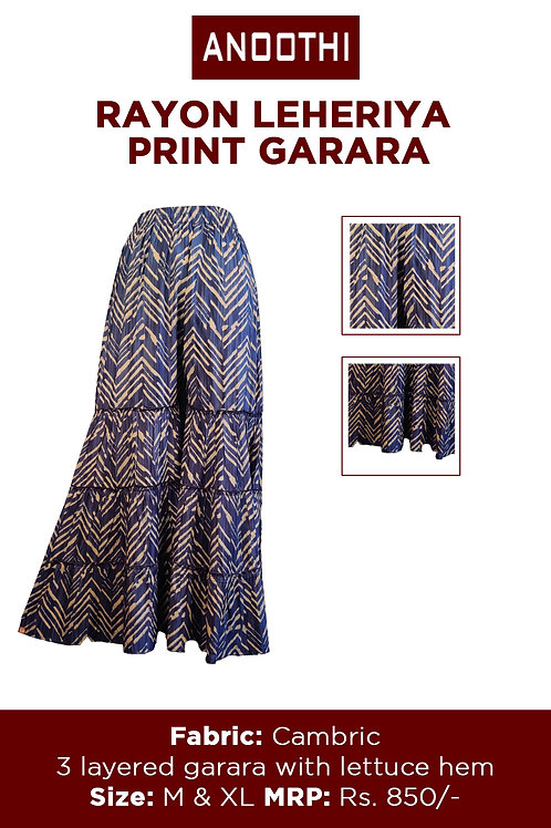 Rayon Lehariya Print Garara With Cambric Fabric 3 Layered Garara With Lettuce He