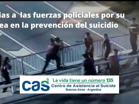 Agradecemos a las fuerzas policiales por sus intervenciones para la prevención del suicidio