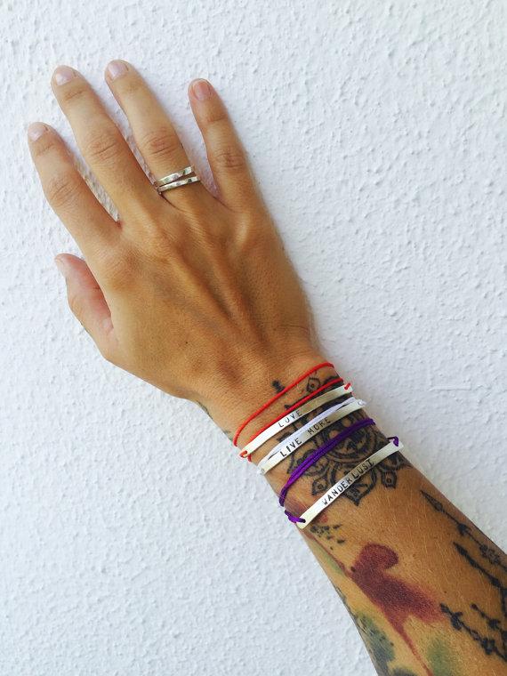 Silver Hand Stamped Bracelet