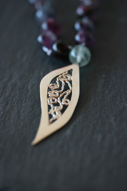 Fluorite & Silver Leaf Necklace