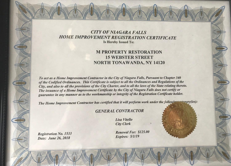 Niagara Falls Licensed Contractor