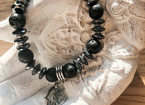 Black Lava Rock & Rhodium