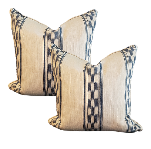 Indigo & Ivory Linen Suitcase Stripe Pillow - Pair