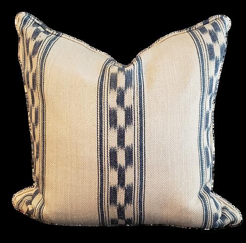 Indigo & Ivory Linen Suitcase Stripe Pillow