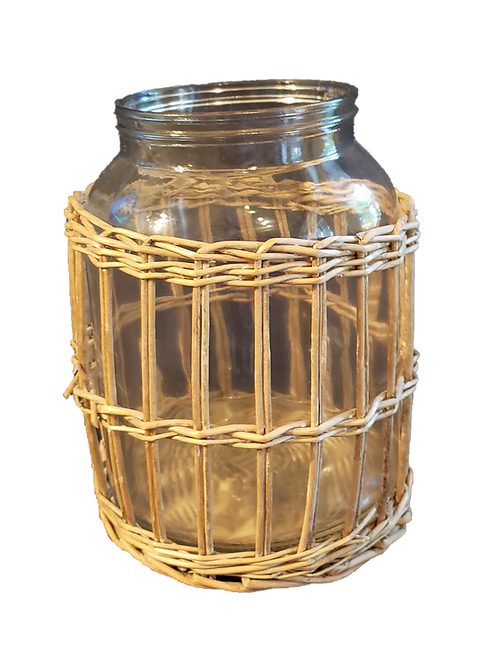 Wicker & Glass Vase