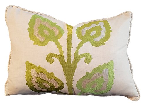 Green & Taupe Vine Pillow
