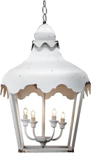White Tole Chinois Lantern
