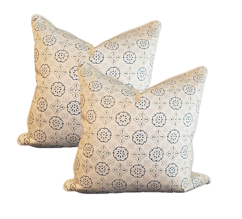 Blue on Ivory Printed Medallions Pillow - Pair