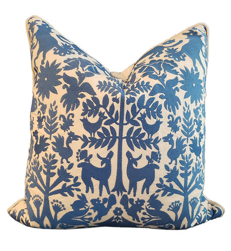 Aiea Pillow - Bright Blue & Cream