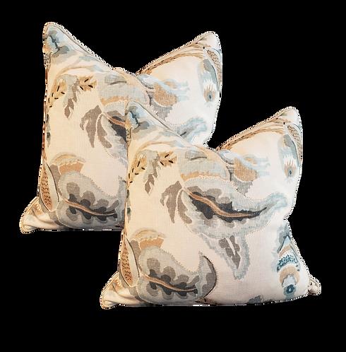 Blue & Khaki Leaf Print Pillow - Pair