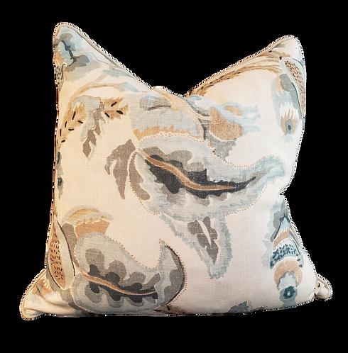 Blue & Khaki Leaf Print Pillow