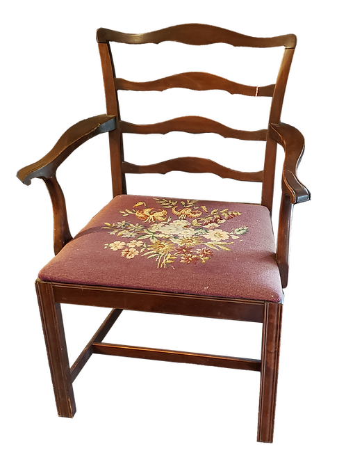 Set of Vintage Mahogany Ladder Back Chairs