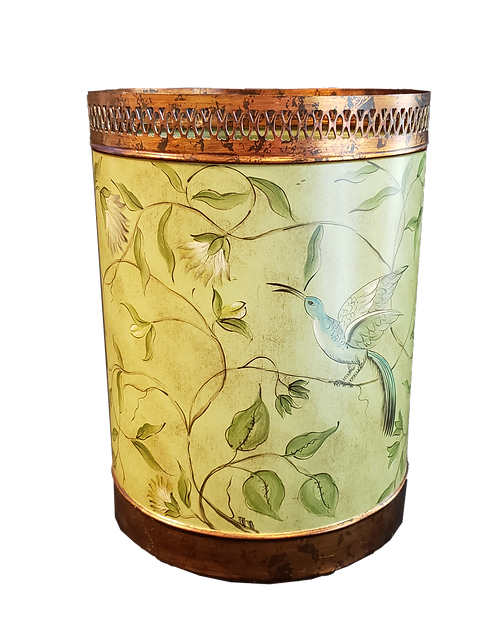 Handpainted Tole Trash Can
