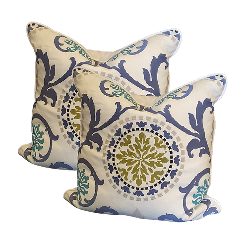 Suzani Medallion Pillow in Blue, Teal & Citron - Pair