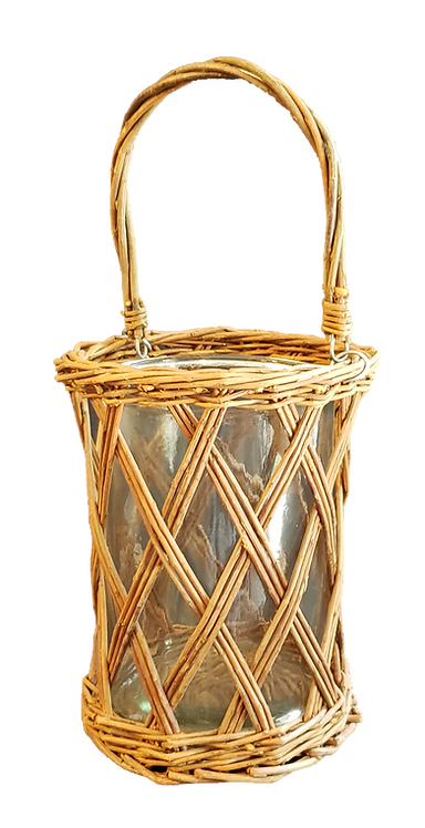Wicker & Glass Candle Holder