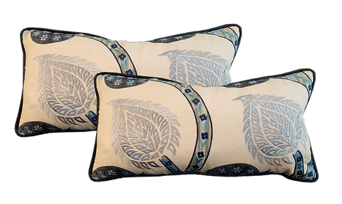 Blue & Aqua Embroidered Bolster Pillow - Pair
