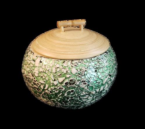 Round Celadon Mosaic Box