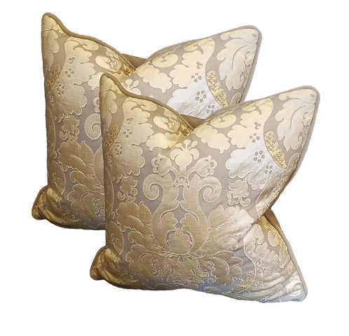 Gold & Taupe Damask Pillow - Pair