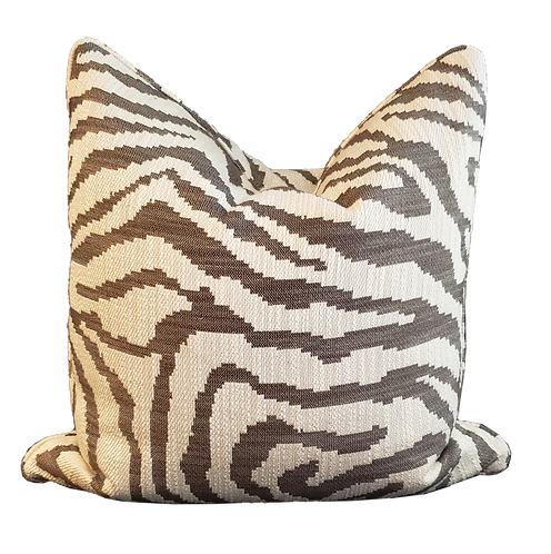 Charcoal & Ivory Woven Zebra Pillow