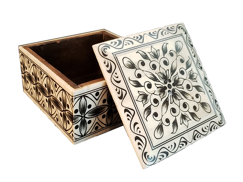 Hand-painted Bone Box