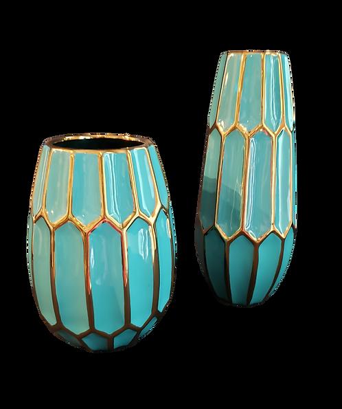 Turquoise & Gold Vase