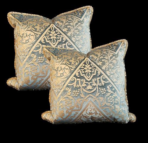 Aqua & Taupe Fortuny Print Pillow - Pair