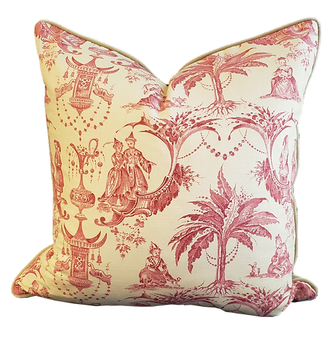 Red on Yellow Chinoisserie Toile Pillow