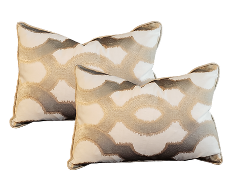 Gold & Taupe Medallion Pillow - Pair