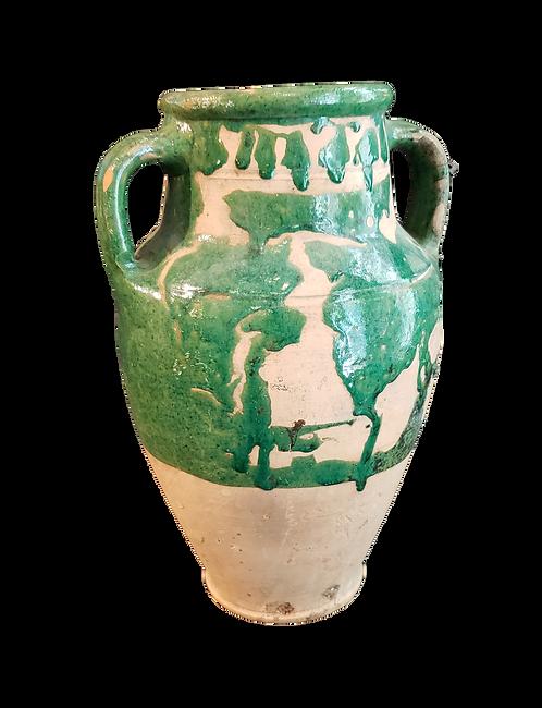 Vintage Olive Pot with Green Glaze