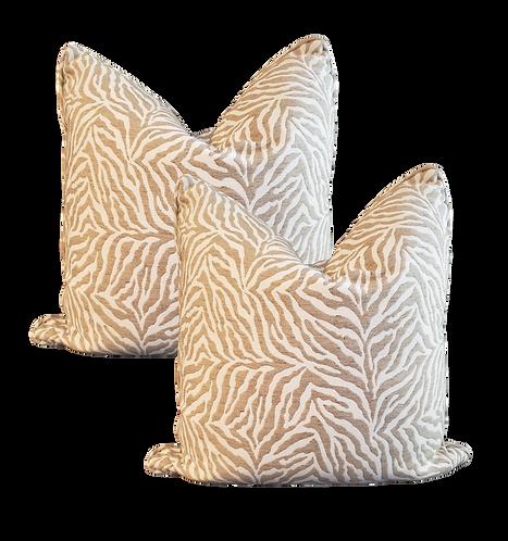 Khaki & Cream Tiger Stripe Pillow - Pair