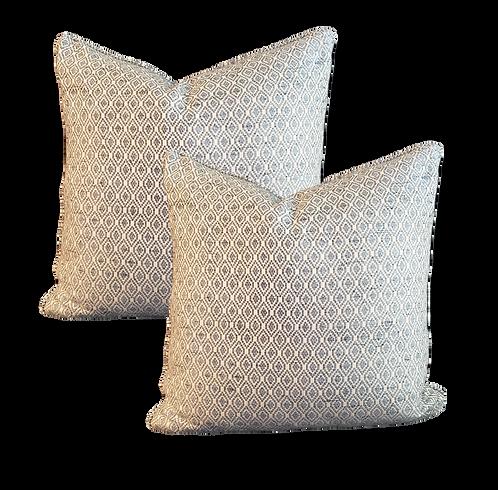 Pale Blue & Ivory Diamond Weave Pillow - Pair