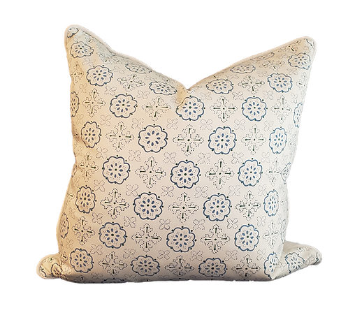 Blue on Ivory Printed Medallions Pillow