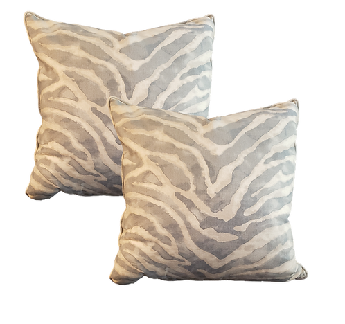 Grey Blue Batik Zebra Pillow - Pair