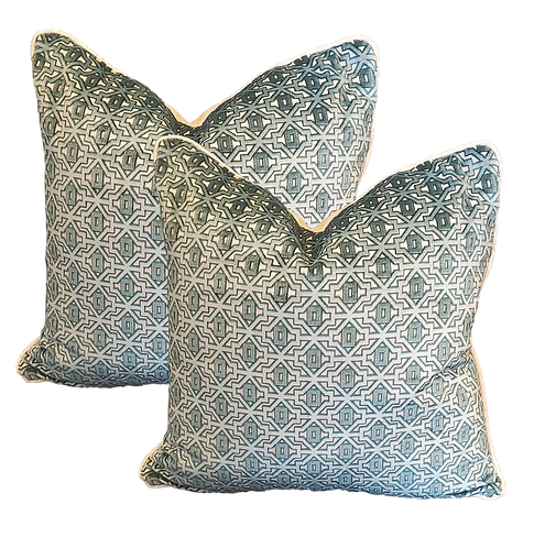 Adriatic Blue Byzantine Cut Velvet Pillow - Pair