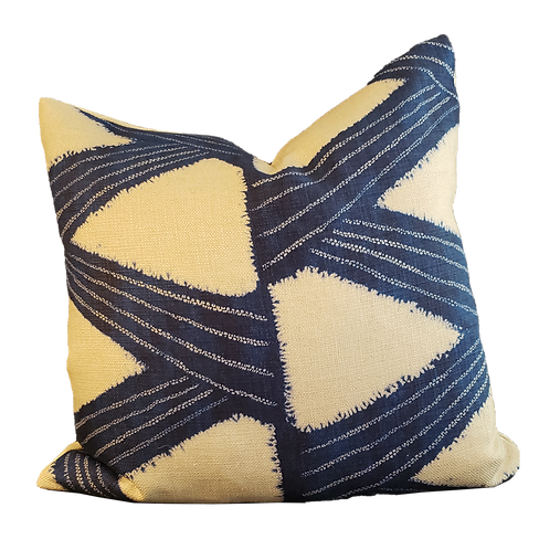 Blue & Natural Slash Pattern Pillow