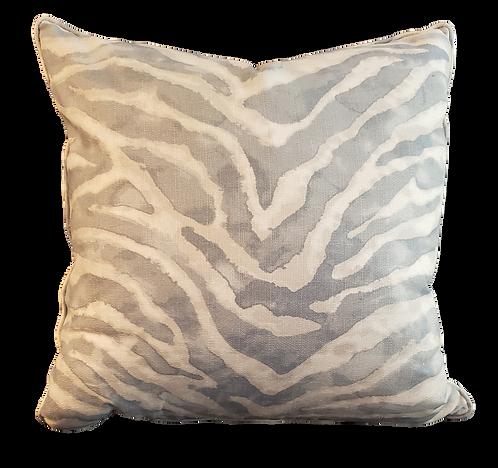 Grey Blue Batik Zebra Pillow