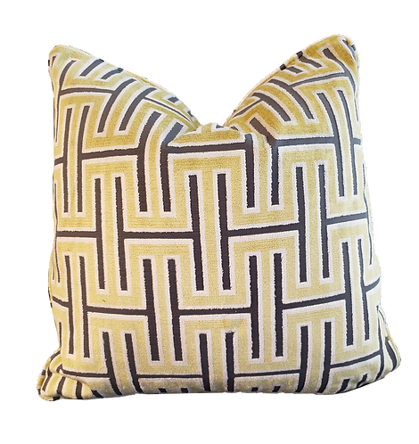 Citron & Charcoal Geometric Pillow