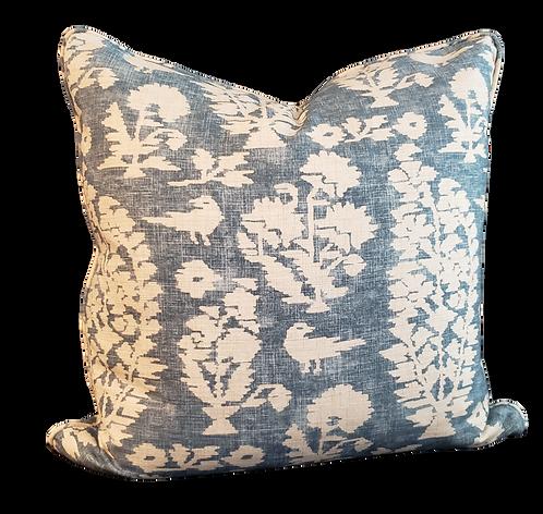 Blue Bird Block Print Pillow