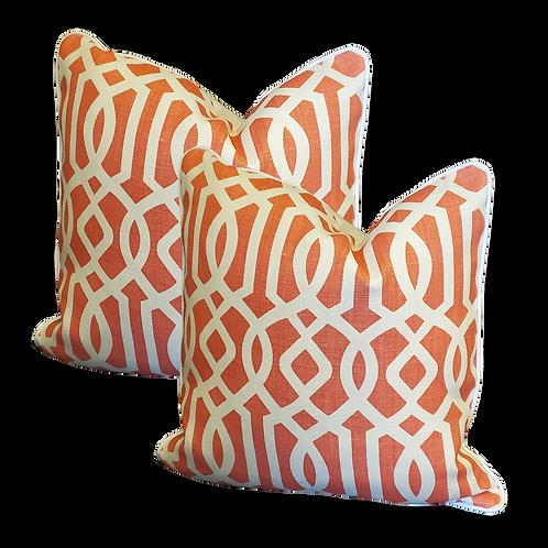 Rust & Ivory Fretwork Pillow - Pair