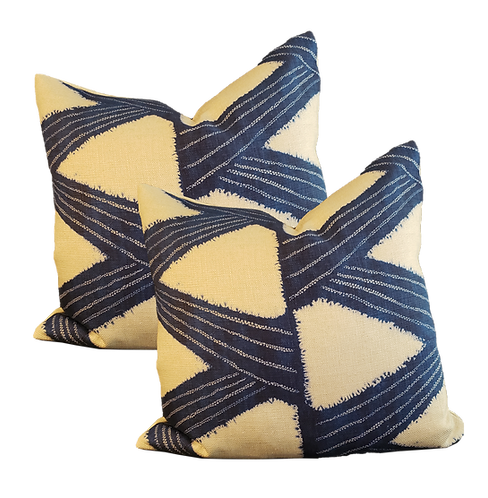 Blue & Natural Slash Pattern Pillow - Pair