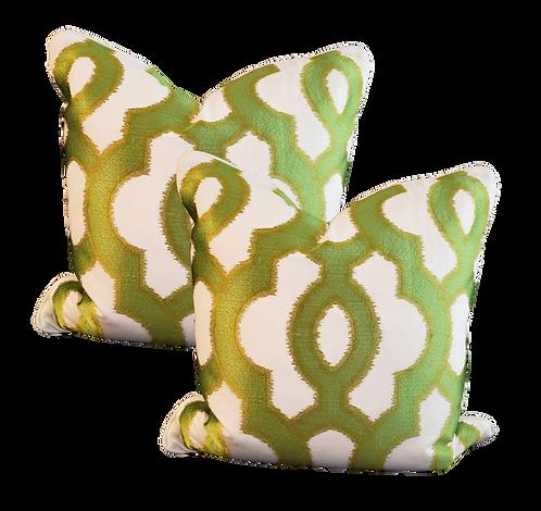 Green & Gold Medallion Pillow - Pair