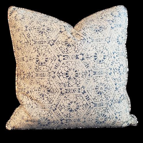 Blue & Ivory Hex Block Pillow