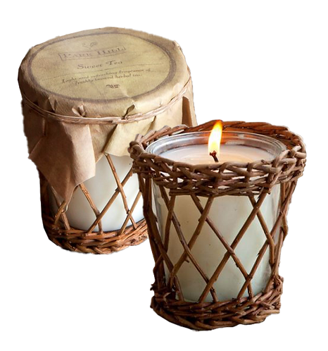 Candle in Willow Basket